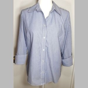 IZOD 3/4 Length Sleeve Pinstripe No Ironing Top